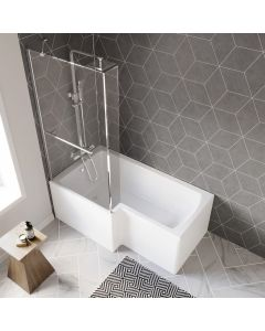L Shaped 1500mm Shower Bath With Front Panel & 4mm Fixed Screen With Rail - Left Handed