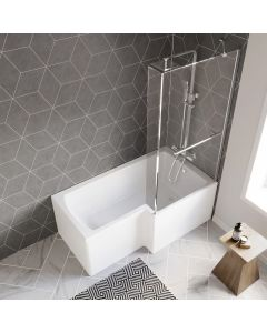 L Shaped 1500mm Shower Bath With Front Panel & 4mm Fixed Screen With Rail - Right Handed
