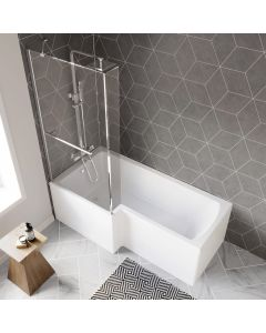 L Shaped 1700mm Shower Bath With Front Panel & 4mm Fixed Screen With Rail - Left Handed