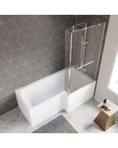 L Shaped 1700mm Shower Bath With Front Panel & 4mm Fixed Screen With Rail - Right Handed