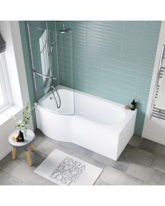 P Shaped 1600mm Shower Bath With Front Panel & 4mm Screen With Rail - Left Handed