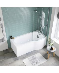 P Shaped 1600mm Shower Bath With Front Panel & 4mm Screen With Rail - Right Handed