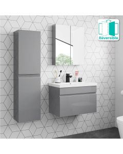 Trent Pebble Grey Wall Hung Tall Cabinet Unit 1200x300mm