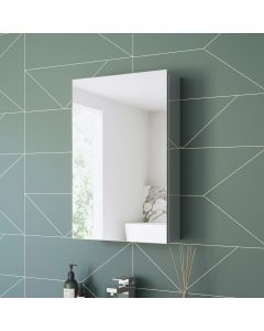 Elena Cloakroom Stainless Steel Mirror Cabinet 600x400mm