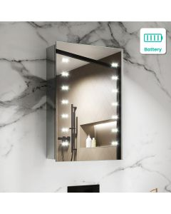 Madison Battery Operated Illuminated LED Cloakroom Mirror Cabinet 600x400mm