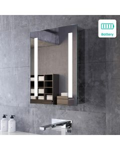 Emielia Battery Operated Illuminated LED Cloakroom Mirror Cabinet 600x450mm