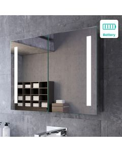 Emielia Battery Operated Illuminated LED Mirror Cabinet 600x800mm