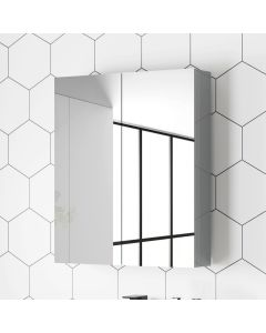 Stone Grey Mirror Cabinet 500mm Assembled