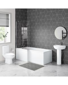 Seattle Basin & Toilet Set with 1700mm L Shaped Shower Bath Suite - Left Handed