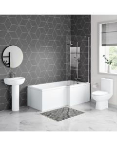 Seattle Basin & Toilet Set with 1700mm L Shaped Shower Bath Suite - Right Handed