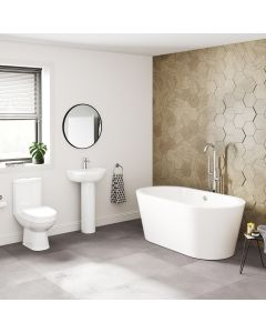 Seattle Basin & Toilet Set with 1500mm Freestanding Bath Suite