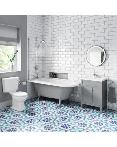 Bermuda Traditional Dove Grey Vanity & Toilet Set with 1700mm Roll Top Shower Bath