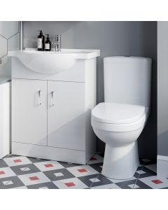 Skye Gloss White Vanity with Semi Recessed Basin 650mm and Toilet Set