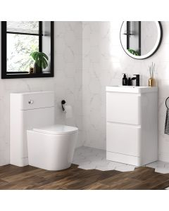 Corsica Gloss White Basin Drawer Vanity 500mm and Back To Wall Rimless Toilet Set