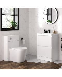 Corsica Gloss White Basin Drawer Vanity 600mm and Back To Wall Rimless Toilet Set