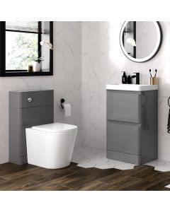 Corsica Storm Grey Basin Drawer Vanity 500mm and Back To Wall Rimless Toilet Set