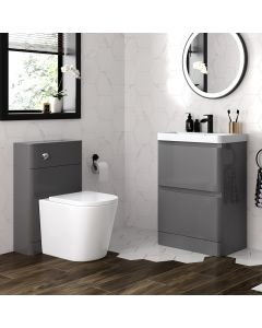Corsica Storm Grey Basin Drawer Vanity 600mm and Back To Wall Rimless Toilet Set