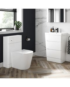 Nevis Gloss White Basin Drawer Vanity 600mm and Back To Wall Rimless Toilet Set