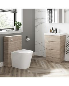 Nevis Oak Basin Drawer Vanity 600mm and Back To Wall Rimless Toilet Set