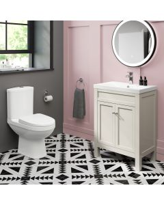 Bermuda Chalk White Basin Vanity 600mm and Toilet Set
