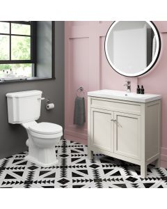 Bermuda Chalk White Basin Vanity 800mm and Toilet Set