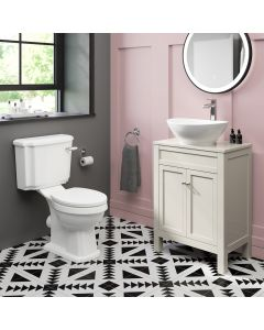 Bermuda Chalk White Vanity with Oval Counter Top Basin and Toilet Set