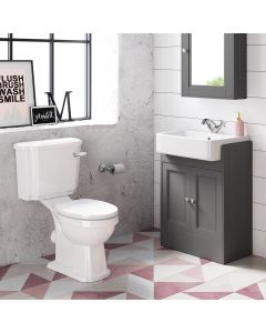 Monaco Slate Grey Basin Vanity 600mm and Traditional Toilet Set