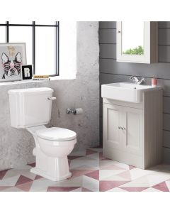 Monaco Chalk White Basin Vanity 600mm and Traditional Toilet Set