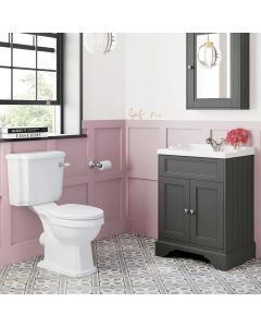 Lucia Slate Grey Basin Vanity 630mm and Traditional Toilet Set