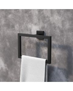 Isla Matt Black Square Towel Ring