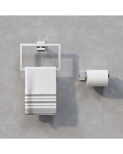 Isla Chrome Toilet Roll Holder & Towel Ring