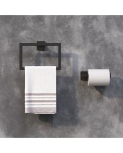 Isla Matt Black Toilet Roll Holder & Towel Ring
