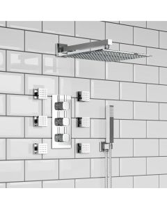 Chrome square Thermostatic Set - 300mm Head, Hand Shower & Body Jets