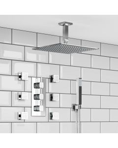 Ceiling Chrome Square Thermostatic Set - 300mm Head, Hand Shower & Jets