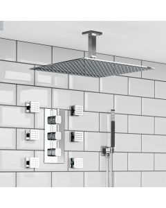 Ceiling Chrome Square Thermostatic Set - 400mm Head, Hand Shower & Jets