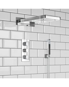 Chrome Square Thermostatic Waterfall Shower Set & Hand Shower