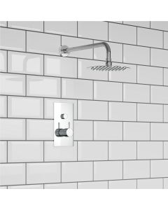 Chrome Round Push Button Thermostatic Shower Set - 200mm Head