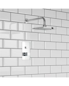 Chrome Square Push Button Thermostatic Shower Set