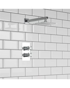 Chrome Crosshead Thermostatic Shower Set - 200mm Head