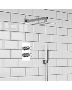 Chrome Square Push Button Thermostatic Shower Set - 200mm Head & Hand Shower