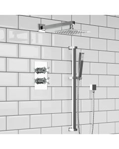 Chrome Crosshead Thermostatic Shower Set - 200mm Head & Slider Hand Shower