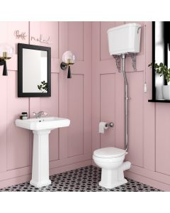 Hudson Traditional Toilet With High-level Cistern And Soft Close Seat
