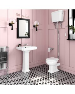 Hudson Traditional Close Coupled Toilet With High-level Cistern & Pedestal Basin Set - Single Tap Hole
