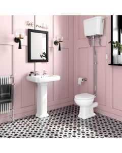 Hudson Traditional Close Coupled Toilet With High-level Cistern & Pedestal Basin Set - Double Tap Hole