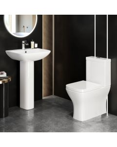 Atlanta Fully Back to Wall Close Coupled Toilet & Pedestal Basin Set