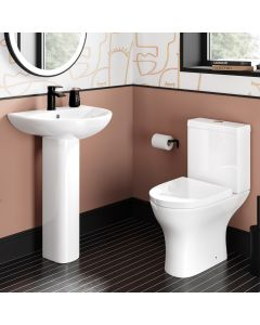 Orlando Close Coupled Toilet & Pedestal Basin Set