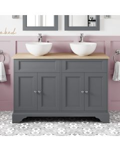 Lucia Slate Grey Double Vanity With Oak Top & Round Counter Top Basin 1200mm