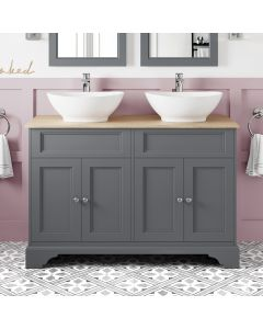 Lucia Slate Grey Double Vanity With Oak Top & Oval Counter Top Basin 1200mm