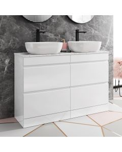 Trent Gloss White Double Vanity Drawer with Marble Top & Curved Counter Top Basin 1200mm