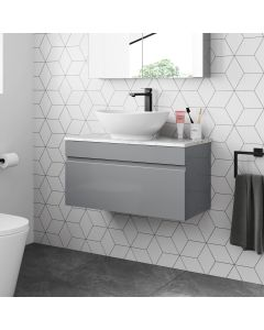 Trent Pebble Grey Wall Hung Drawer Vanity with Marble Top & Oval Counter Top Basin 800mm